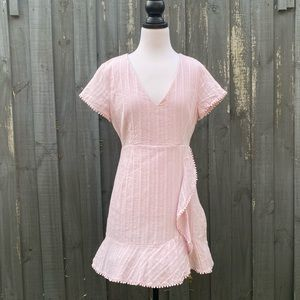 Calli Pink V Neck Ruffle Trim Cotton Dress AU12